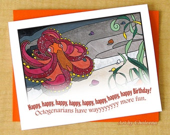 80-89 years old. Happy Birthday Octopus Octogenarian Card- Greeting Small Card- Blank Card- Octopus Card- Mosaic Card- Ocean Card- Steampunk