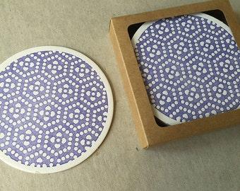 Letterpress violet Japanese motif coaster set (#CST003)