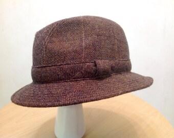 BROOKS BROTHERS Vintage Brown Fedora Wool hat
