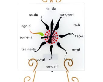 Clock Cherokee Language Square Tsalagi Cherokee Designed