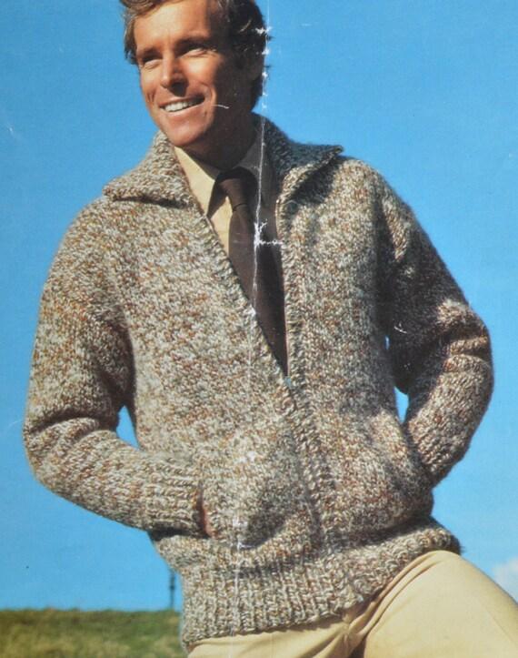 Men\'s zip up cardigan bomber jacket vintage knitting pattern pdf ...