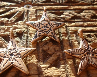 Copper Moroccan  small shiny hand engraved  star pendant with dots