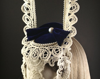 Blue Velvet and Ivory Lace Bunny Mask