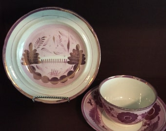Vintage unique Lustreware small plate, tea cup, and saucer