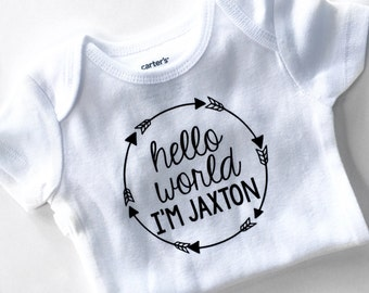 Hello World Newborn Outfit, Boys Coming Home Outfit, Newborn Take Home, Hello World Bodysuit, Baby Shower Gift, Personalized Bodysuit