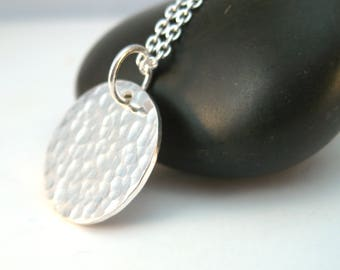 Simple Hammered Pendant Necklace in Sterling Silver