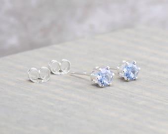Sterling Silver Aquamarine Stud Earrings - March Birthstone Earrings - 4mm Studs - March Birthday - Light Blue Earrings - Christmas Gift