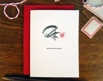 letterpress you're the apple of my eye greeting card red black love card
