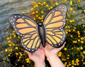 Cremation Urn, Artistic Ceramic Sculpture- Large Monarch Butterfly for Wife, Mom, Sister - Unique, Personalized Funeral Urns for Human Ashes