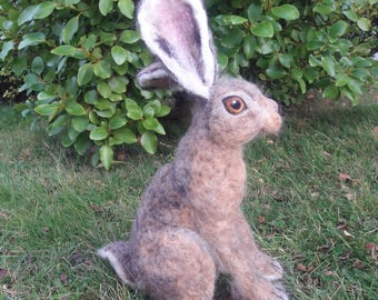 OOAK needle felted large brown hare