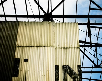 corrugated sheet metal industrial derelict building grunge typography shabby fine art photography