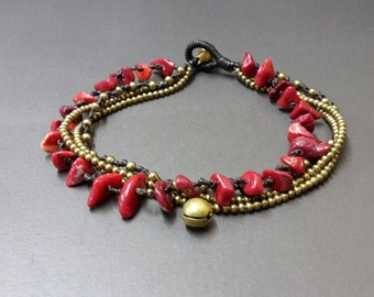 Chip Coral  Brass Chain Anklet