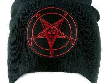 Red Sabbatic Baphomet Goat Head Beanie Occult Clothing Knit Cap Black Metal - YDS-EMPA-REDBAPH-Beanie