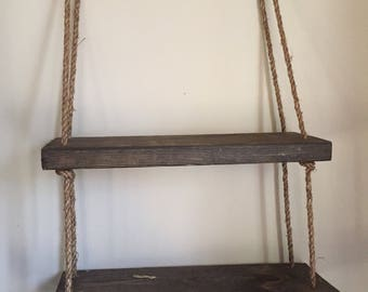 Wood rope shelf