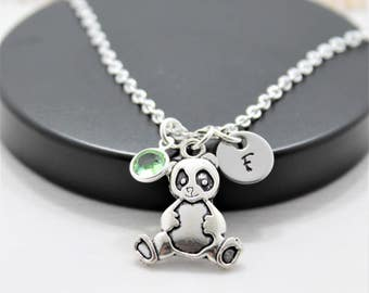 Panda Bear Necklace - Panda Necklace - Personalized - Panda Lover - Panda Jewelry - Silver Panda - Panda Bear Gift