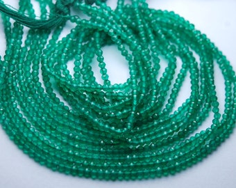 13 inch Long Strand,Green Onyx Finest Quality Micro Faceted Rondells,3-3.5mm