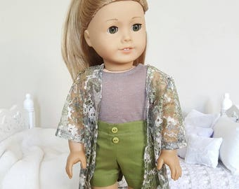 18 inch doll shorts, tank top & kimono | three piece outfit