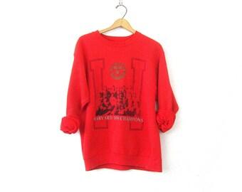 vintage Harvard Champions sweatshirt Distressed Red sweatshirt Oversized slouchy sweatshirt Athletic Sports Sporty workout Top Size Large