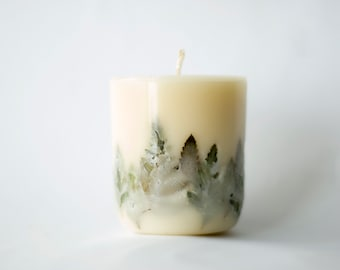 Fern candle. Handmade fern eco soy pillar candle. Botanical candle. Vegan candle. Dried flower candle.