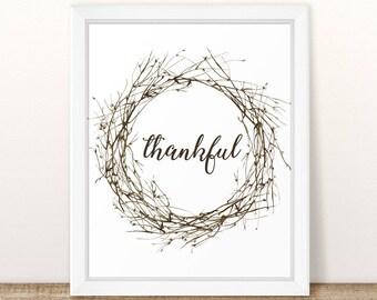 Printable Thankful Wall Art, Gratitude Printable, Thankful Printable, Fall Printable, Thanksgiving Printable, Thanksgiving Decor Give Thanks