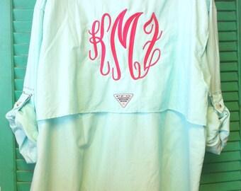 Monogrammed Columbia Fishing Shirt PFG Short Long Sleeve Bathing Swim Suit Cover Up B30 4xxXclhr