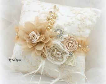 Wedding Bridal Ring Pillow in Ivory and Champagne, Unique Lace Ring Bearer Pillow, Vintage Gatsby Wedding