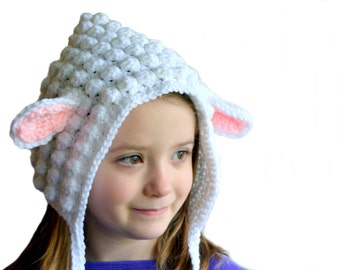 Sheep Hat, Girls Bonnet, Spring Cap, Baby Lamb Hat, Lamb Bonnet, Sheep Bonnet, Animal Hat, Lamb of God, Easter Hat, Sheep Costume, Lamb Baby