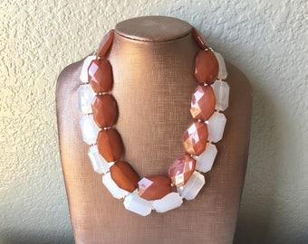 Brown & White Necklace, multi strand jewelry, big beaded chunky statement necklace, brown necklace, bridesmaid necklace, bib necklace
