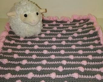 Micro preemie polka dot pom pom crocheted blanket