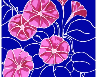 September Morning Glories: Flower print 8x10