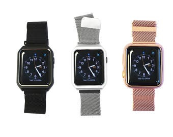 Mesh Apple Watch Band Replacement Strap - Face Cover and Band All-in-One in Silver, Rose Gold, Matte Gold or Black Mesh, Both 38mm 42mm Face