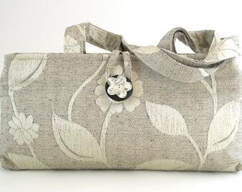 fabric purse, grey handbag, small tote bag, fabric clutch bag , shoulder bag, handbag zippers, tote purse