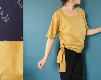 """blouse cotton mustard yellow or Navy print """"origami cranes"""""""