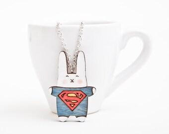 Bunny Necklace, Kids Jewelry, Girlfriend Gift, Super Hero Pendant, Rabbit Necklace, Blue Kids Necklace, Superman Necklace, Bunny Pendant