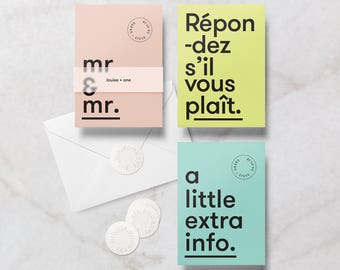 Custom colour Gay Wedding Invitation / Invite Complete Suite, includes RSVP, Info Card, Envelope & Sticker.
