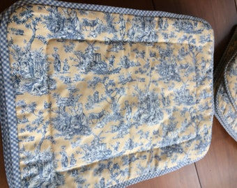 Blue and Yellow Toile White and Yellow Gingham Custom Handmade Placemats and Seat Cushions