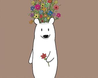 Flower Bear Greeting Card