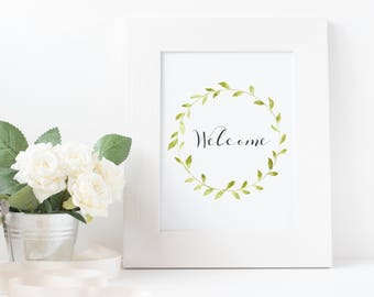Welcome Print. Guest Room Decor. Entrance Wall Art. Welcome Sign. Wall Art Decor. Wreath Printable. Party Printable