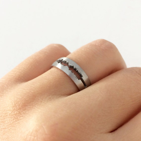 Custom Sound Ring in Sterling Silver Metal Personalized