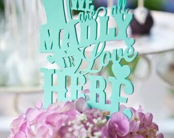Cake Topper, Alice In wonderland, wood, Wedding, lasercut; variety of color options; custom