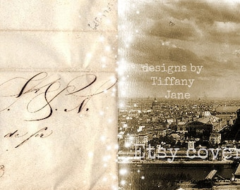 "TiffanyJane-""LetterToParis"" EtsyCoverPhoto-LargeHeaderBanner-InstantDownload-EverydayBanner-EiffelTower-Paris"