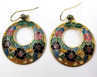 Cloisonne Dangle Pierced Earrings