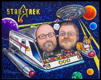 Custom caricature, retirement for men, retirement for women, retirement gift, retirement party, Star Trek caricature, Star Trek cartoon