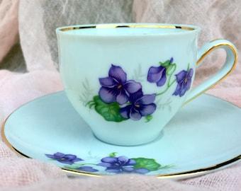 Vintage1950s Schwarzenhammer Porcelain Bavaria Germany Demitasse Cup and Saucer Purple Violets Gold Trim Shabby Chic Bridal Birthday Gift