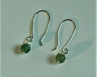Jade bead Sterling Silver dangles