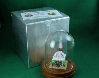 Dollhouse Miniature Gingerbread Beach House with Display Dome and Gift Box
