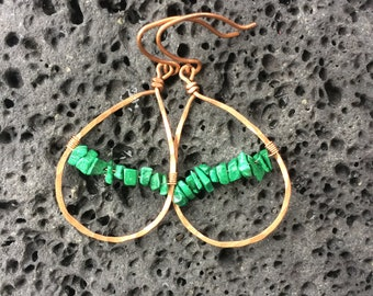 Copper and Malachite earrings