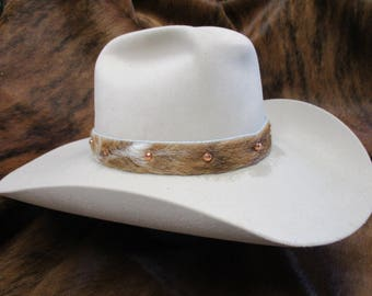 Hat Band,Cowboy Hat Band,SASS Hat Band,Cowgirl Hat Band,Hair on Brindle Cowhide Hat Band with Bright Copper Spots