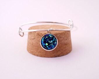 Blue druzy bangle bracelet