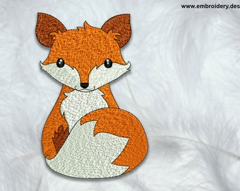 Sitting fox embroidery design – 3 sizes - downloadable